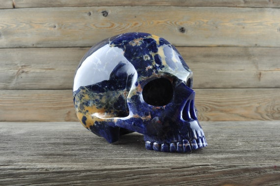 Natural Sodalite Crystal Skull, Large