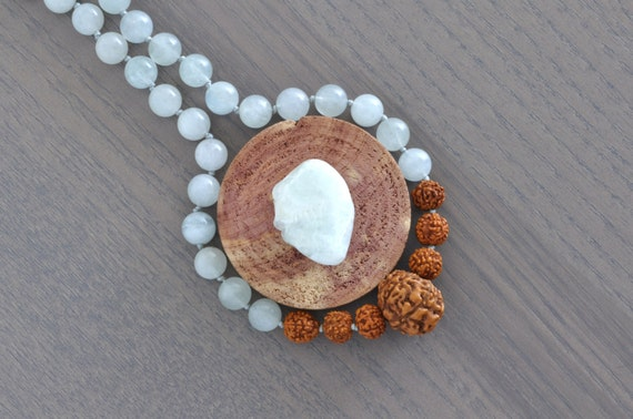 Aquamarine + 7 Muhki Rudraksha Necklace