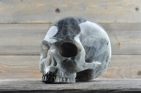 Natural Super Realistic Labradorite Crystal Skull, Large