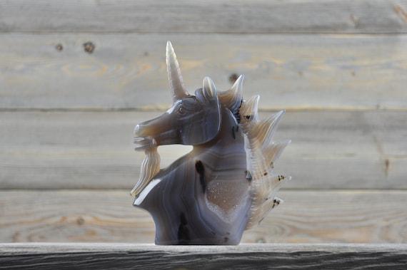 Beautiful Hand Made Banded Agate Quartz Geode Unicorn!!