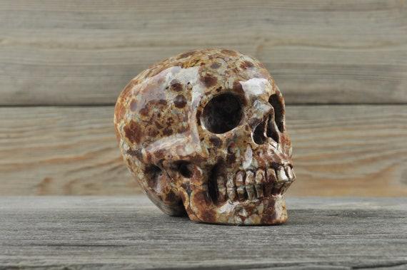 Natural Realistic Wavelite Crystal Skull, Medium
