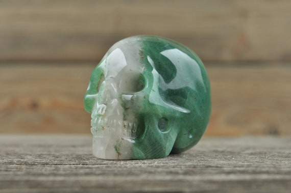 Amazing Natural Moss Agate Geode Crystal Skull, 2 inch!