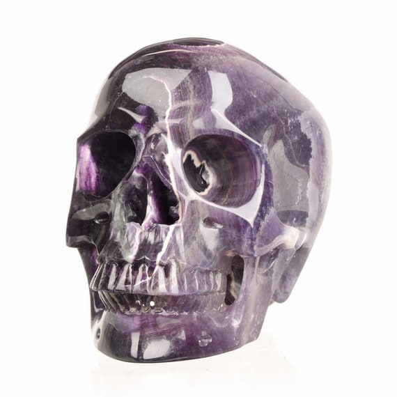 TITAN, Banded Fluorite Crystal Skull, One-of-a-kind!!!