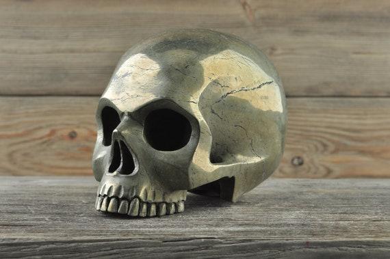Natural Super Realistic Iron Pyrite Crystal Skull, Large