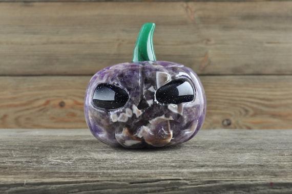 Awesome Chevron Amethyst Pumpkin with Blue Sandstone Eyes!