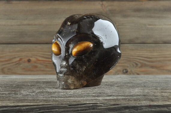 Natural Smokey Quartz with Tiger Eye Alien Starbeing Crystal Skull, 3 inches!