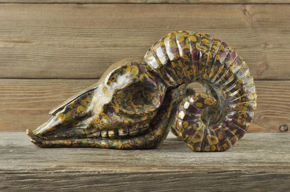 Elephant Jasper Ram Crystal Skull, Animal Skull, Crystal Skull, Crystal Carving, Crystal Decor, Home Decor, Ram Skull, Animal Skull, Crystal