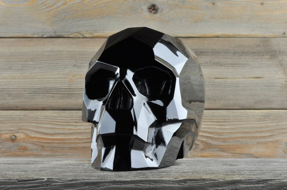 AMAZING Black Obsidian CUSTOM MADE Faceted Crystal Skull, Large!