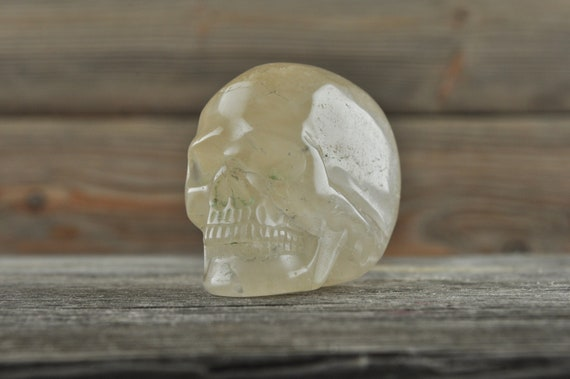 Natural Realistic Chlorite Quartz Crystal Skull, Mini!