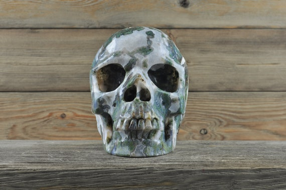 Amaazing Geode Moss Agate skull!  Truly a show piece! XL