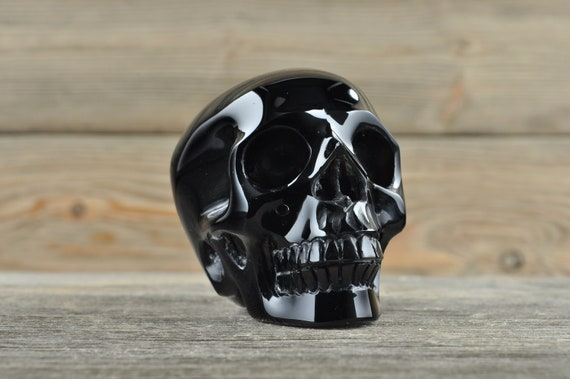 Natural Super Realistic Black Obsidian Crystal Skull, Medium