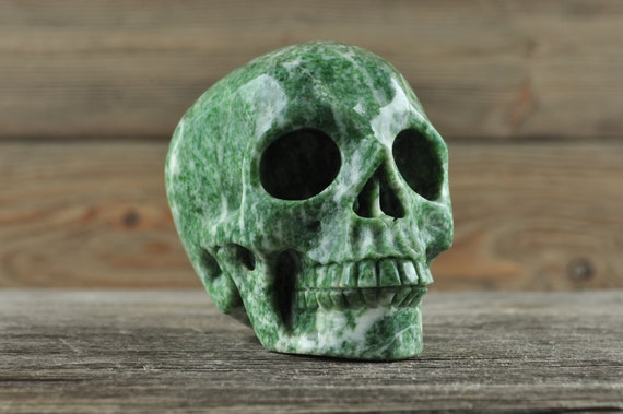 Natural Realistic Moss Agate Crystal Skull, Medium