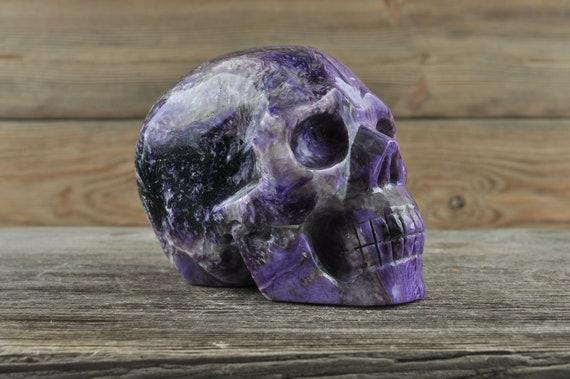 Natural Realistic Charoite Crystal Skull, Medium