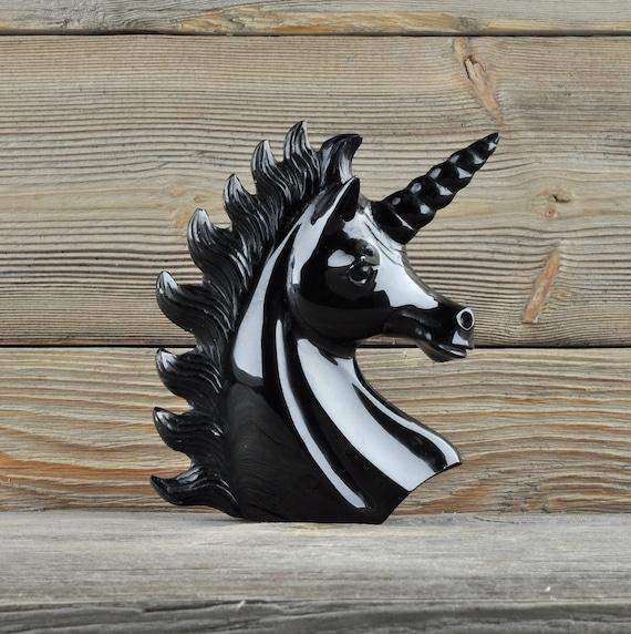 Beautiful Hand Carved Black Obsidian Unicorn!!
