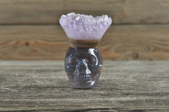 Stunning Natural Amethyst and Banded Agate Geode Crystal Mini Skull!
