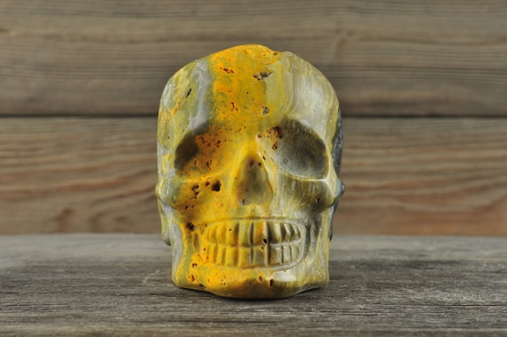 Rare BumbleBee Jasper Crystal Skull! Medium