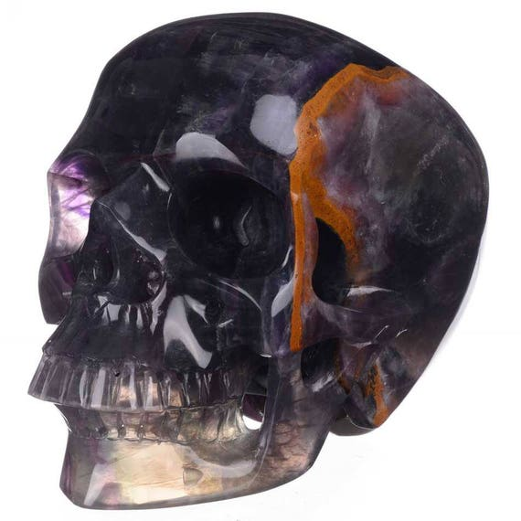 XL Deep Colored Rainbow Banded Fluorite Crystal Skull! Huge!