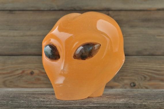 Orange Selenite w Labradorite Eyes Crystal Alien Starbeing!