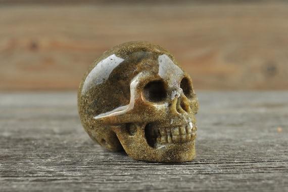 Natural Moss Agate Crystal Skull, Mini