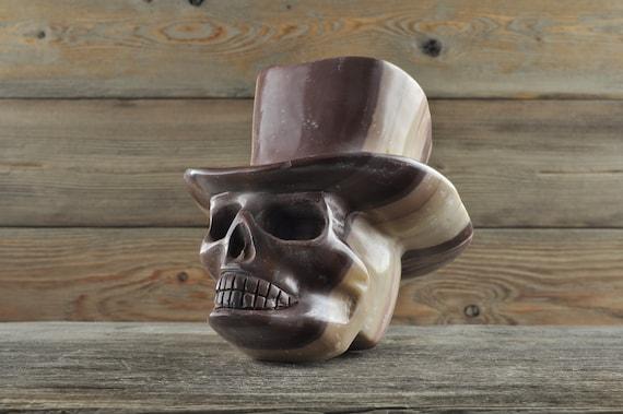 Cute Striped Brown Jasper Skull with Top Hat!