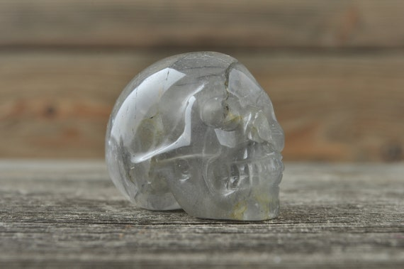 Natural Grey Quartz Crystal Skull, Mini