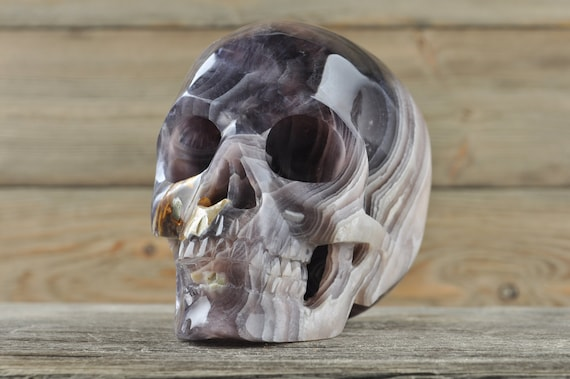 Natural Super Realistic Fluorite Crystal Skull, Large
