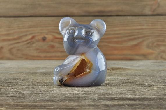 Beautiful  Quartz and Banded Agate Geode Crystal Koala!