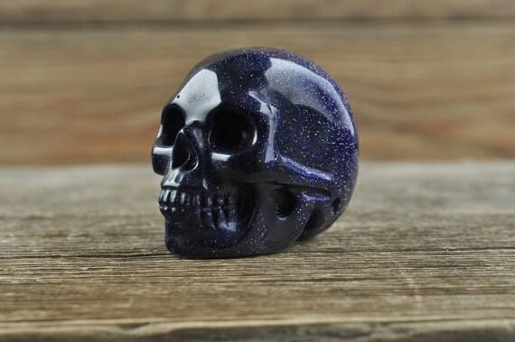 Realistic Blue Sandstone Crystal Skull, Mini