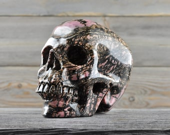 Rhodonite, Crystal Skull, Large! Halloween Decor, Skull Decor, Gothic Home Decor, Memento Mori, Goth Decor, Crystal Decor