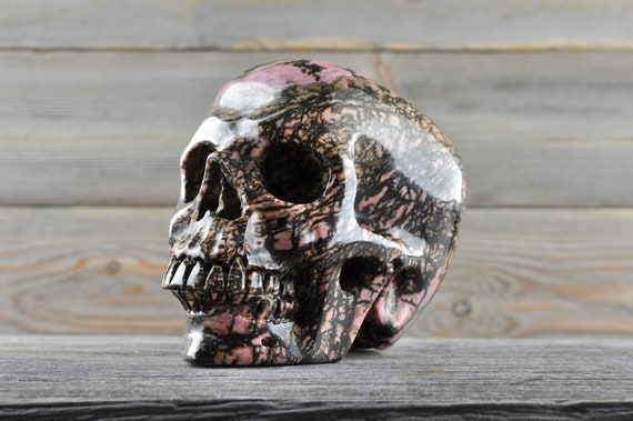 Super Unique Natural Realistic Rhodonite Crystal Skull, Large!!