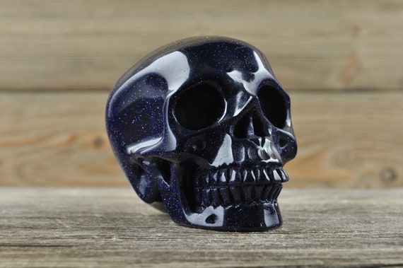 Natural Realistic Blue Sandstone Crystal Skull, Medium