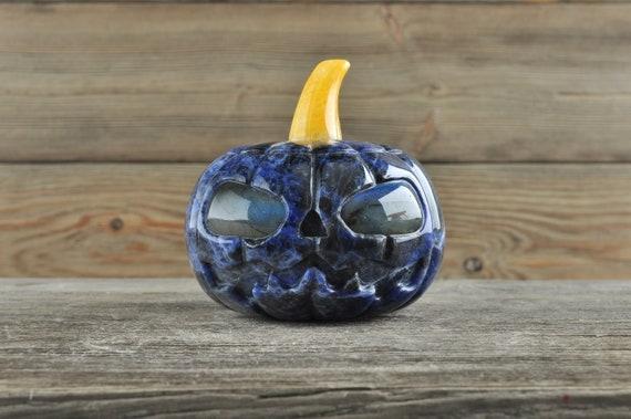 Awesome Sodalite Pumpkin with Labradorite Eyes!