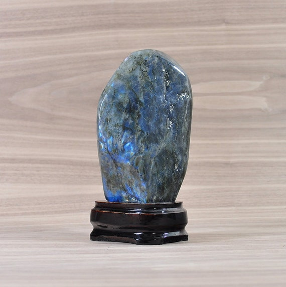 Beautiful Flashy Labradorite Crystal on Wooden Stand