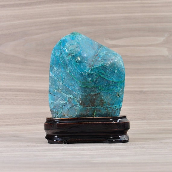Beautiful Polished Chrysocolla on Wooden Stand