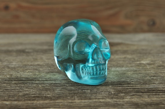 Blue Obsidian Crystal Skull, Mini Halloween Decor, Skull Decor, Gothic Home Decor, Memento Mori, Goth Decor, Crystal Decor