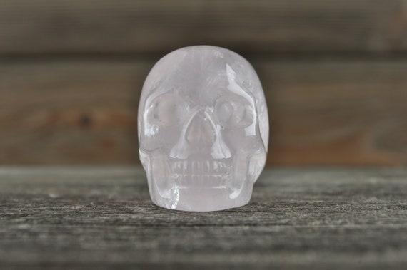 Natural Rose Quartz Crystal Skull, Mini