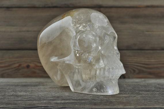 Light Smokey Quartz Crystal Skull, 5 inches!