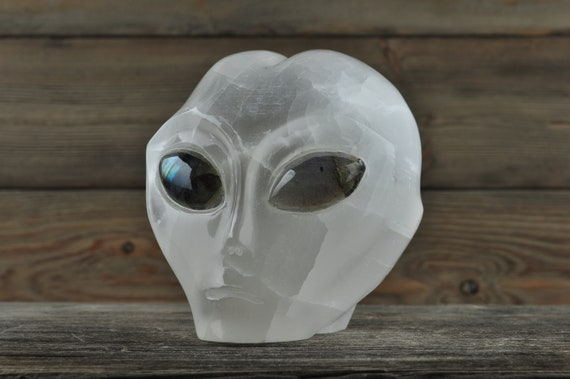 Selenite w Labradorite Eyes Crystal Alien Starbeing!