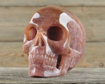 Cherry Quartz, Crystal Skull, Large, Halloween Decor, Skull Decor, Gothic Home Decor, Memento Mori, Goth Decor, Crystal Decor