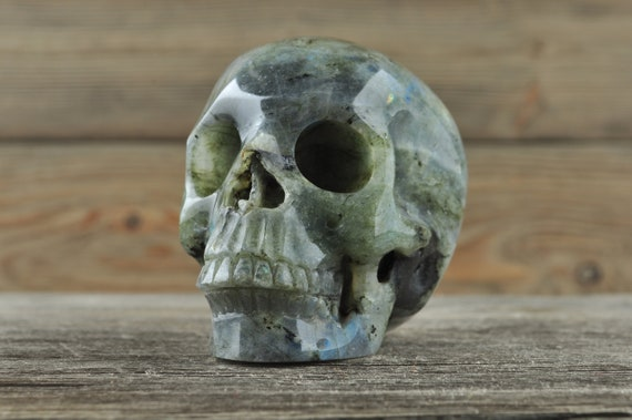 Flashy Labradorite Crystal Skull! Medium - WOUNDED WARRIOR