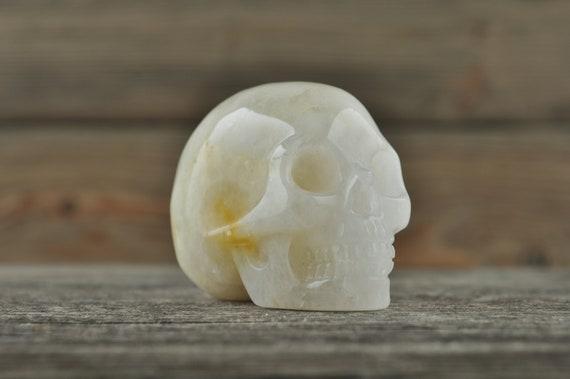 Natural Clear Quartz Golden Healer Crystal Skull, 2 inch!