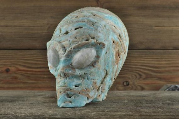 Blue Aragonite Blue Moonstone Crystal Alien Starbeing Crystal Carving