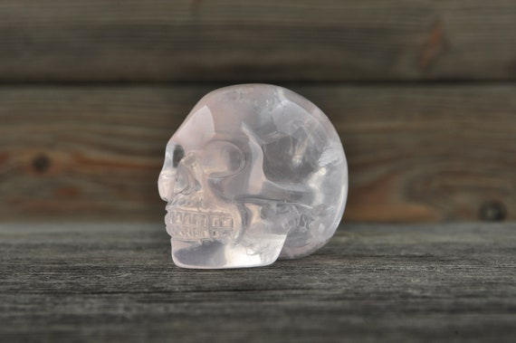 Natural Rose Quartz Crystal Skull, Mini