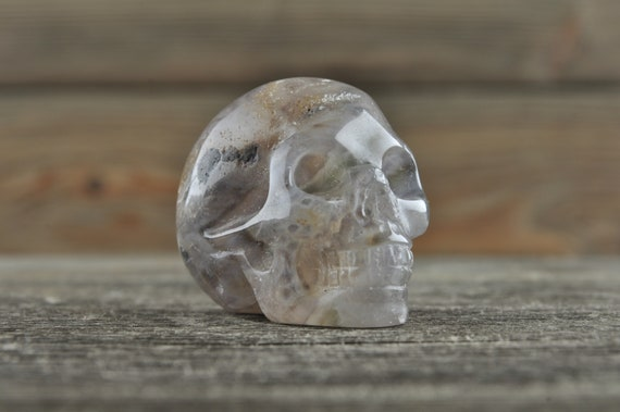 Natural Realistic Grey Chevron Amethyst Crystal Skull, Mini!