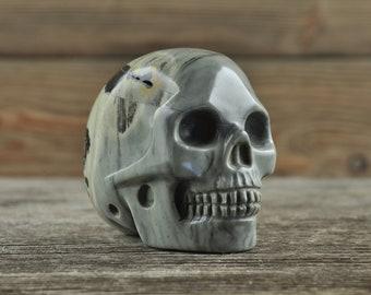 Jasper Crystal Skull, 2 inch! Halloween Decor, Skull Decor, Gothic Home Decor, Memento Mori, Goth Decor, Crystal Decor