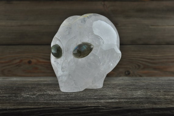 Natural Quartz with Labradorite Alien Starbeing Crystal Skull, 3 inches!