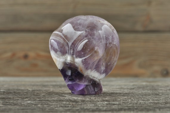 Natural Realistic Chevron Amethyst Alien Starbeing Crystal Skull, Mini!