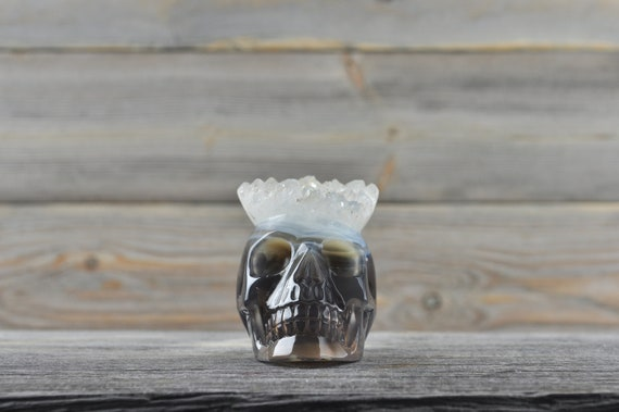 Beautiful Natural Quartz and Banded Agate Geode Crystal Skull!