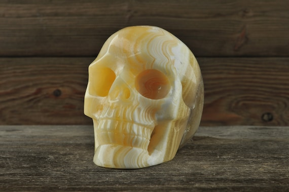 Orange Calcite Crystal Skull! Crystal Skull, Halloween Decor, Skull Decor, Gothic Home Decor, Goth Decor, Crystal Decor, Crystal Skulls