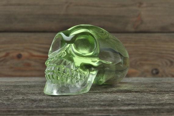 Lime Green Obsidian Alien Starbeing Crystal Skull, Large!